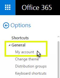 Click General, click My account